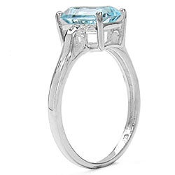 Malaika Sterling Silver Genuine Blue Topaz and Diamond Ring