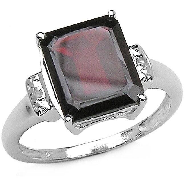 Malaika 5.32ctw Genuine Garnet & Diamond Silver Ring