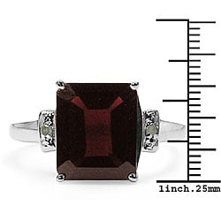 Malaika 5.32ctw Genuine Garnet & Diamond Silver Ring