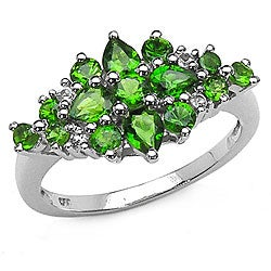 Malaika Sterling Silver Chrome Diopside/ White Topaz Ring