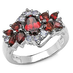 Malaika Sterling Silver Garnet Tanzanite Ring