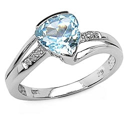 Sterling-silver 2.01-carat TGW Blue Topaz Ring with Diamond Accents