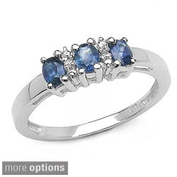 Malaika Silver Genuine Sapphire and Diamond Ring