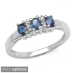 Malaika Silver Genuine Sapphire and Diamond Accent Ring