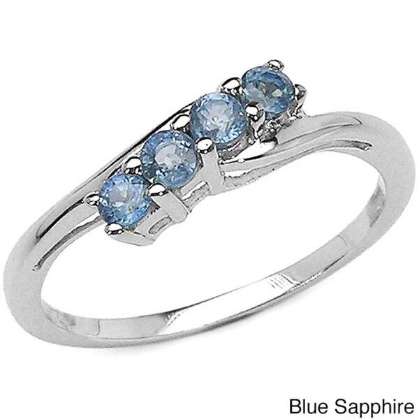 Malaika Sterling Silver 4-stone Gemstone Ring