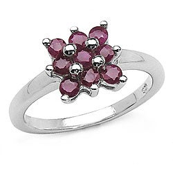 Malaika Sterling Silver Ruby Cluster Ring (Size 7)