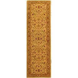 Handmade Treasure Ivory/ Brown Wool Runner (2'3 x 14')