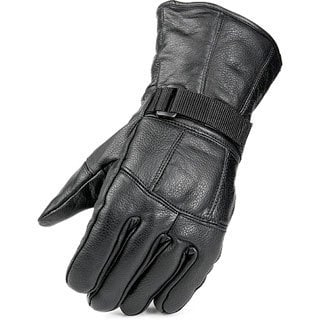 Black Leather Fleece-lined Snow Gloves with Adjustable Wrist Closure