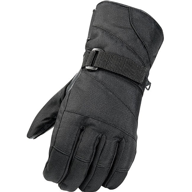 Black Weatherproof Leather/Nylon Ski Gloves with Hook and Loop Wrist Straps