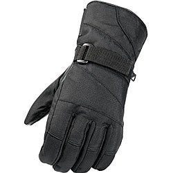 Black Weatherproof Leather/Nylon Ski Gloves with Velcro Wrist Straps