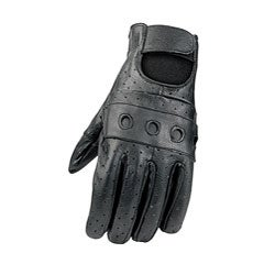 Black Leather Motorcycle Gloves