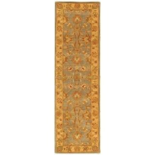 Safavieh Handmade Heritage Kerman Blue/ Beige Wool Runner (2'3 x 14')