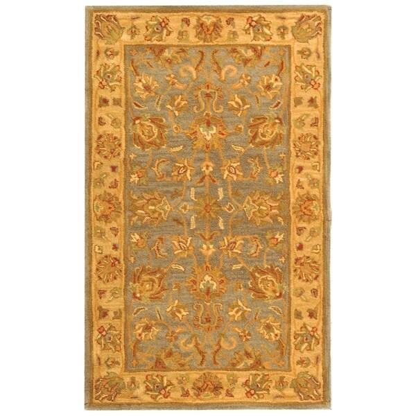 Safavieh Handmade Heritage Kerman Blue/ Beige Wool Rug (3' x '5)