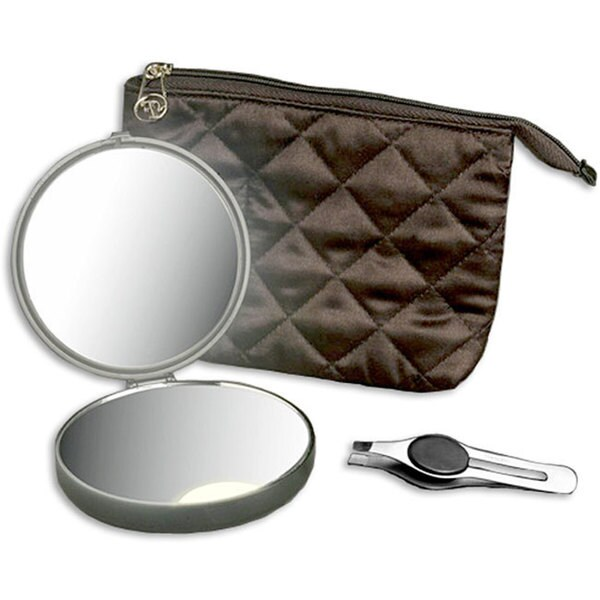 Floxite Lighted 10x/ 1x Compact Mirror and Tweezer Set