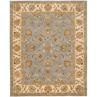 Safavieh Handmade Heritage Kerman Blue/ Beige Wool Rug (6' x 9')