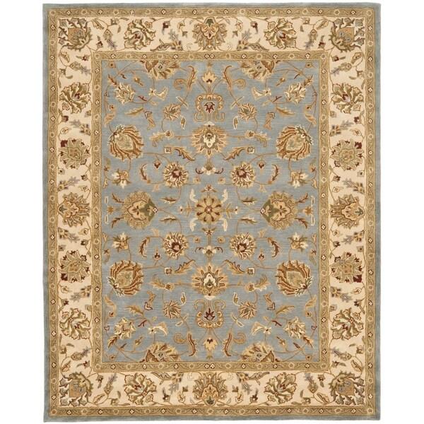 Safavieh Handmade Heritage Kerman Blue/ Beige Wool Rug (7'6 x 9'6)