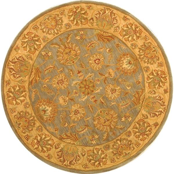 Safavieh Handmade Heritage Kerman Blue/ Beige Wool Rug (8' Round)