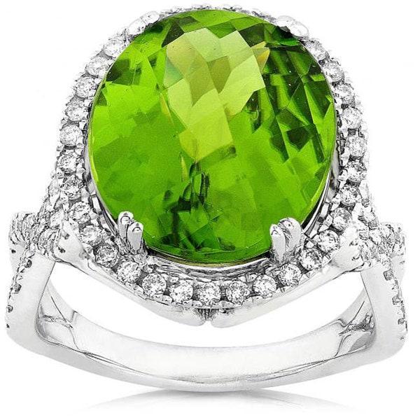 14k White Gold 8 5/8ct TCW Peridot Diamond Ring (G-H, SI) (Size 6.5)
