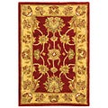 Handmade Heritage Kerman Red/ Gold Wool Rug (2' x 3')