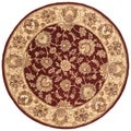 Handmade Heritage Kerman Red/ Gold Wool Rug (3'6 Round)