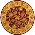Handmade Heritage Kerman Red/ Gold Wool Rug (6' Round)