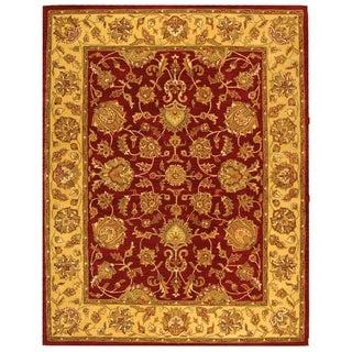 Handmade Heritage Kerman Red/ Gold Wool Rug (7'6 x 9'6)