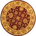 Handmade Heritage Kerman Red/ Gold Wool Rug (8' Round)