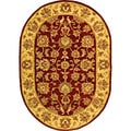 Handmade Heritage Kerman Red/ Gold Wool Rug (7'6 x 9'6 Oval)