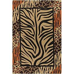 Flat-weave Mandara Animal Print Flora Rug (9' x 13')