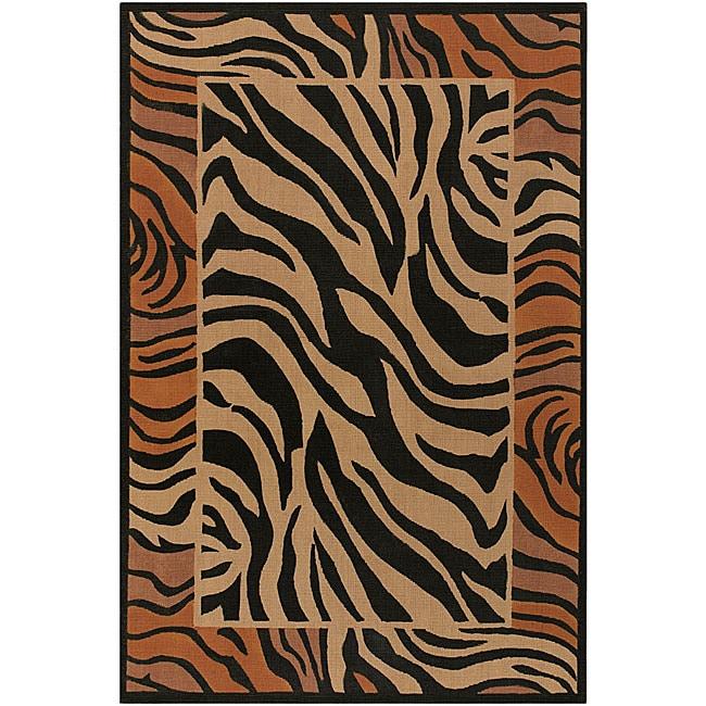 "Flat-Weave Mandara Zebra-Print Flora Jute Rug (5' x 7'6"")"