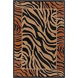 Flat-weave Mandara Zebra Print Flora Rug (7'9 Square)