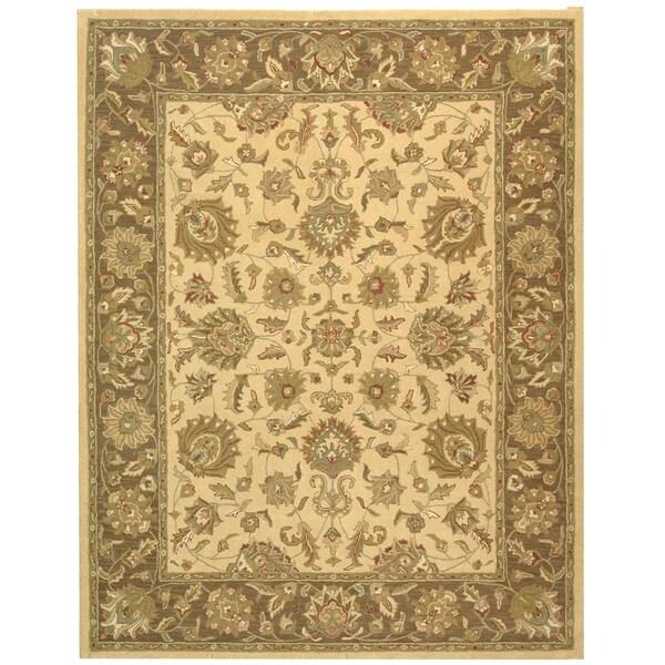 Safavieh Handmade Heritage Kerman Ivory/ Brown Wool Rug (7'6 x 9'6)