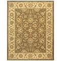 Safavieh Handmade Heritage Kerman Brown/ Ivory Wool Rug (6' x 9')