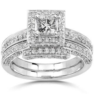 Annello by Kobelli 14k White Gold 1 1/4ct TDW Diamond Square Halo Geometric Womens Bridal Rings Set