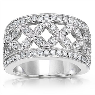 Annello 14k Gold 1/2ct TDW Diamond Floral Anniversary Band (G-H, I1-I2)
