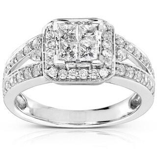 Annello 14k Gold 1ct TDW Quad Princess Halo Diamond Engagement Ring with Bonus Item