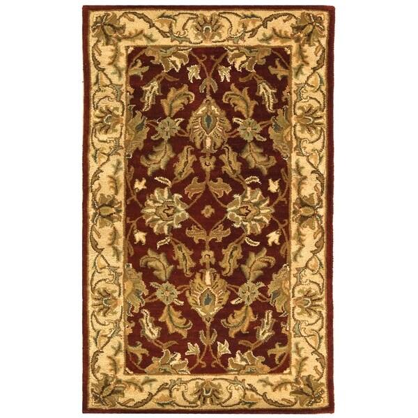 Safavieh Handmade Heritage Kashan Red/ Ivory Wool Rug (2' x 3')