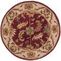 Handmade Heritage Kashan Red/ Ivory Wool Rug (3'6 Round)