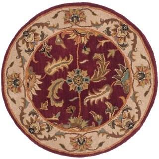 Safavieh Handmade Heritage Kashan Red/ Ivory Wool Rug (3'6 Round)