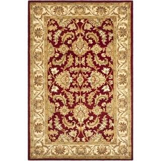 Safavieh Handmade Heritage Kashan Red/ Ivory Wool Rug (5' x 8')