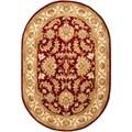 Safavieh Handmade Heritage Kashan Red/ Ivory Wool Rug (4'6 x 6'6 Oval)