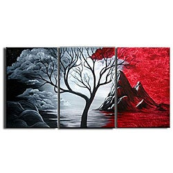 'Blood Mountain' 3-piece Hand-painted Canvas