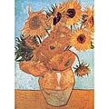 Hand-painted 'Vase With Twelve Sunflowers' Canvas Art