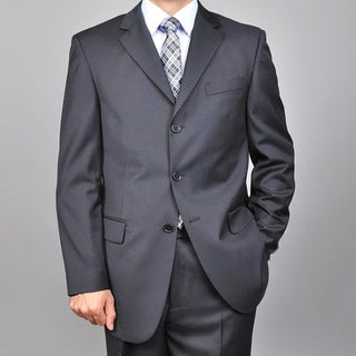 Men's Solid Black 3-button Suit