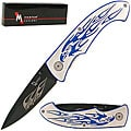 Eagle Engraved 7.75-inch Blue Folding Pocket Knife