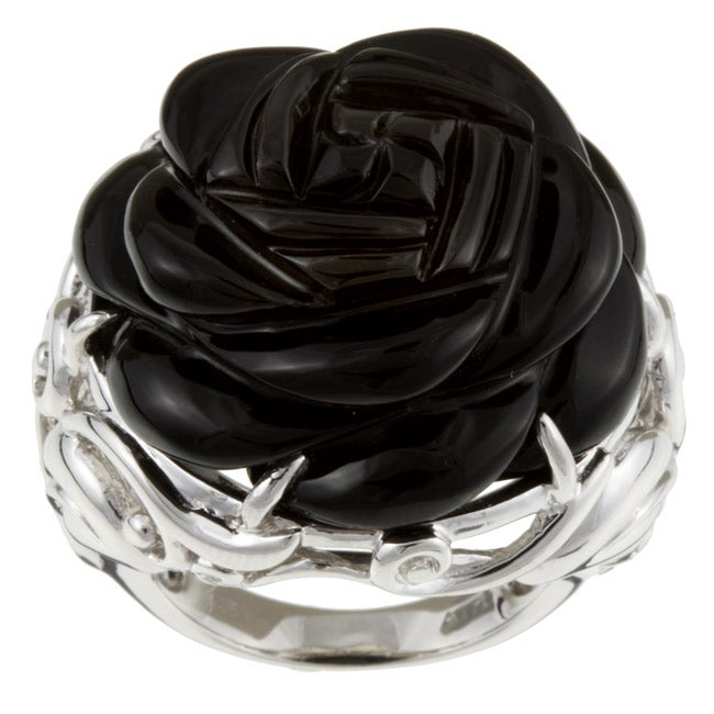 Meredith Leigh Sterling Silver Onyx Rose Cut Ring