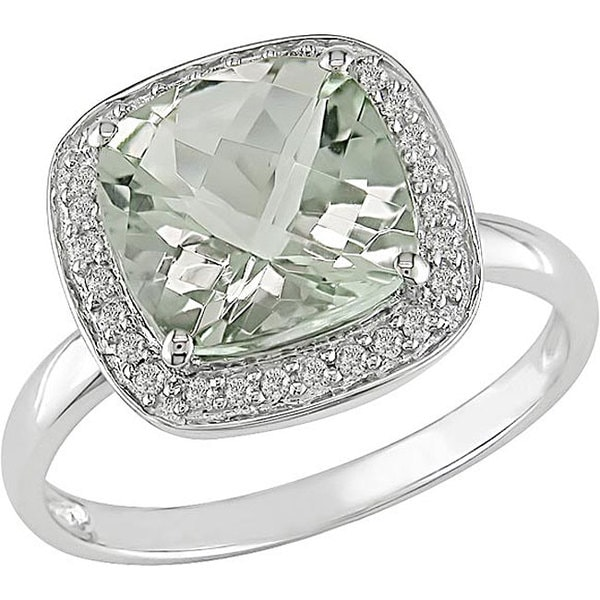 Miadora 14k White Gold Green Amethyst and 1/10ct TDW Diamond Ring (I-J, I1-I2)