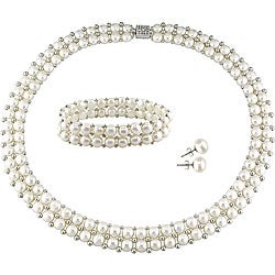 Miadora Freshwater Pearl and Silver Bead Jewelry Set (7-8 mm)