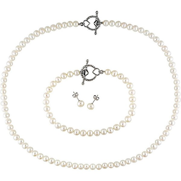 Miadora Cultured Freshwater Pearl and Silver Clasp Jewelry Set (5-6mm)