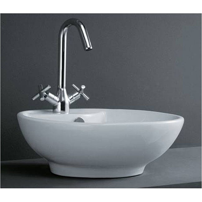 Round Porcelain White Above-Counter Bathroom Vessel Sink